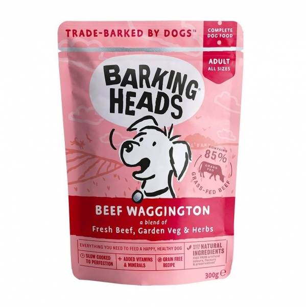 "Barking Heads паучи для собак с говядиной и бурым рисом ""Вуф-строганов"", Beef Waggington"